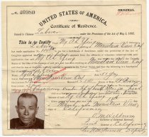Image of Certificate of Residence, Chinese Laborer