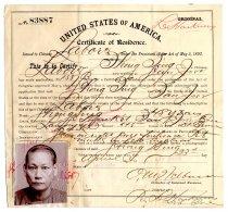 Image of Certificate of Residence, Hong Sing