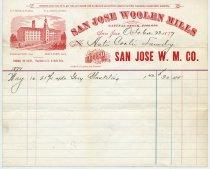 Image of San Jose Woolen Mills invoice, 1877