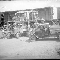 Image of FW_02549 - Unloading Materials for Concrete Laying on State Trunk Highway #2, 1930