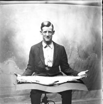 Image of FW_03850 - Man with Taxidermy Fish, ca. 1910-1930