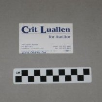 Image of Crit Luallen for Auditor card    - Card, Political