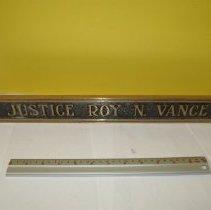 Image of Door Name Plate/Justice Roy N. Vance     - Nameplate