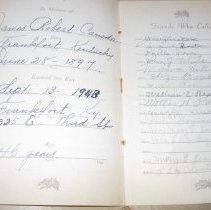 Image of James Robert Canada Funeral Register - Register, Death