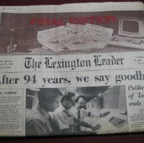 Image of Final Copy of the Lexington Leader - Newspaper