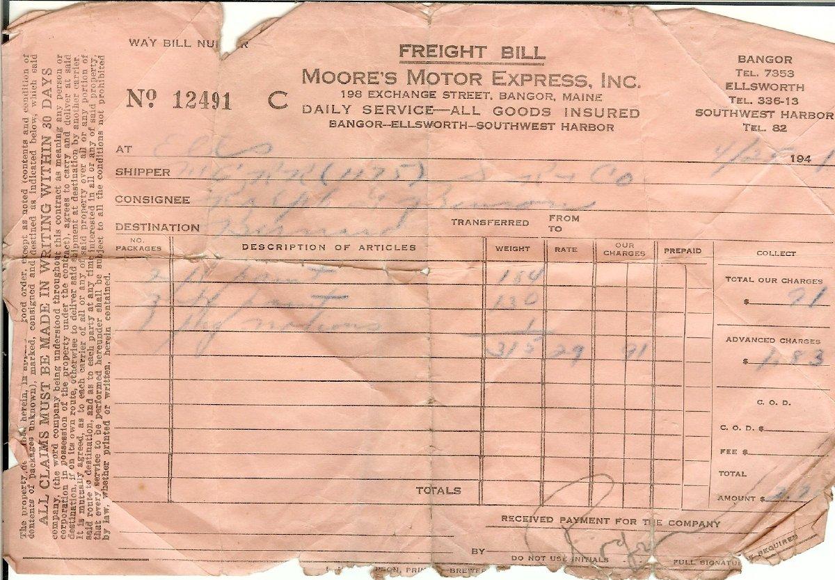 1941 Freight Bill from Ralph Benson