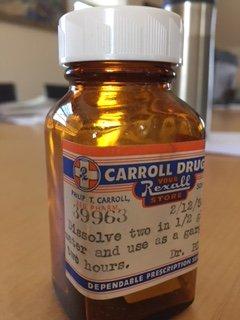 Carroll drug store prescription bottle