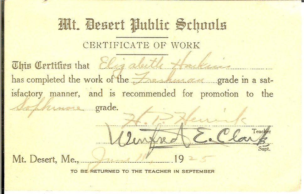 MDI High school certificate of promotion, 1925