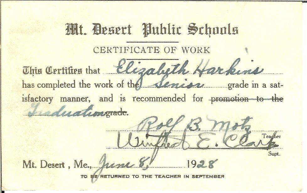MDI High school certificate of work, graduation