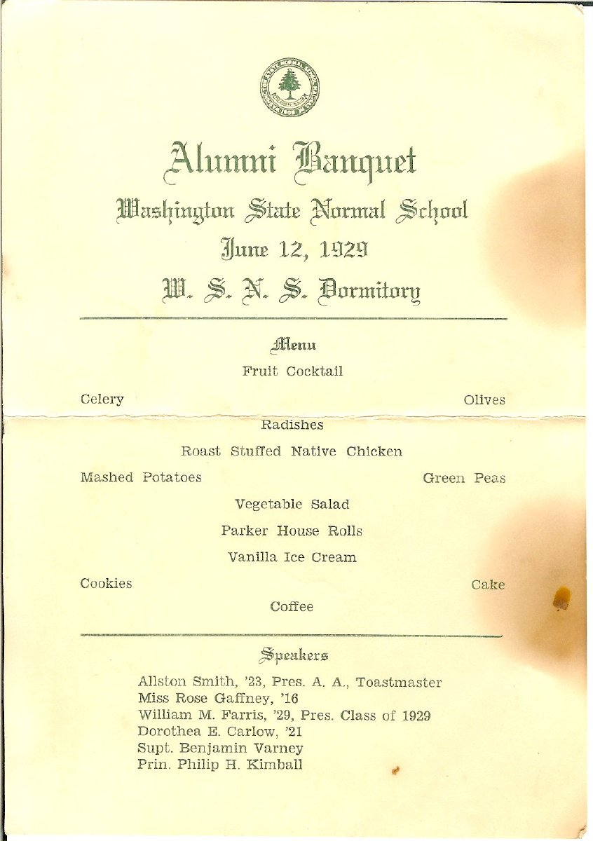 Washington State Normal School Alumni Banquet
