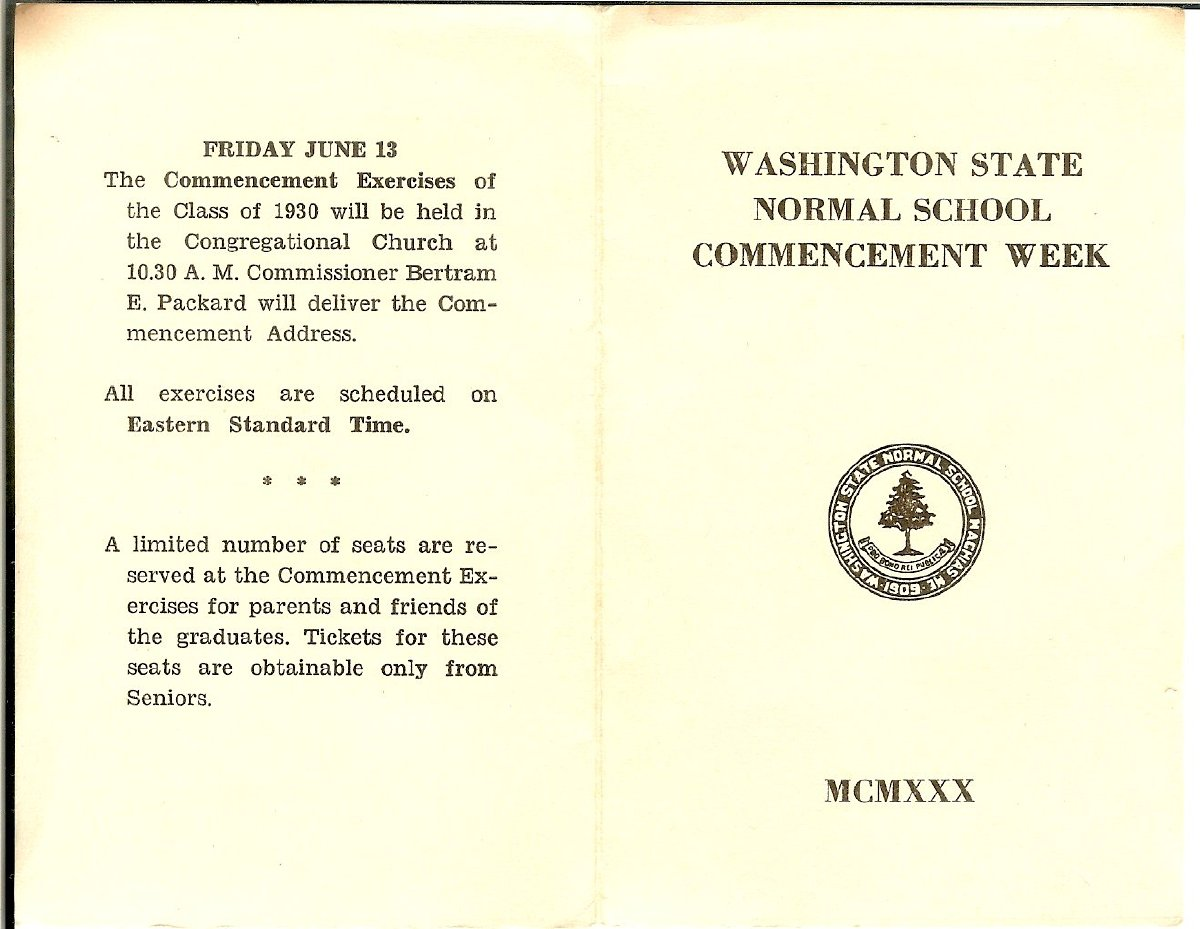 Washington State Normal School Commencement program
