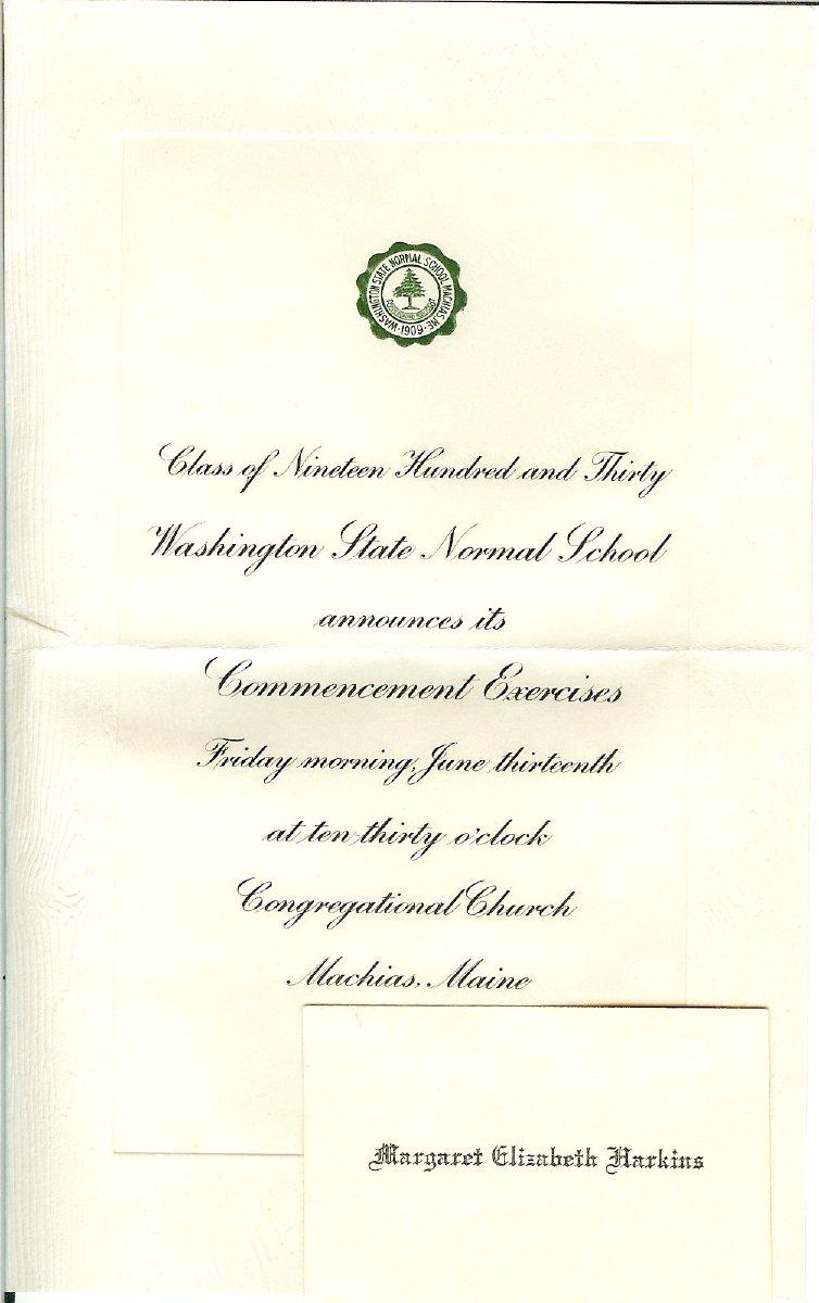 Washington State Normal School Commencement announcement