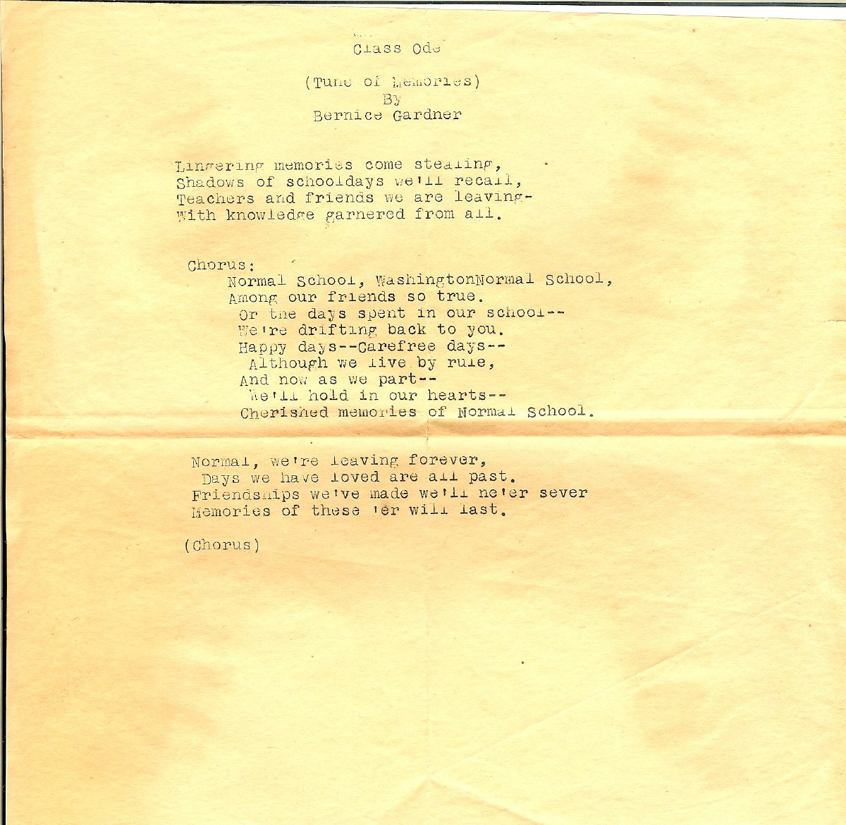 Washington State Normal School Commencement Class Ode written by Bernice Gardner