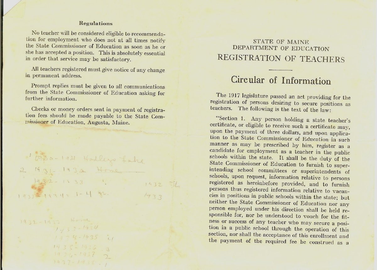 State of Maine Registration of Teachers, pamphlet of information