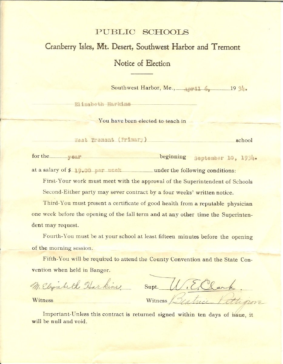 """""""Notice of Election"""" to teach at West Tremont, 1934, salary $19.00 per week"""