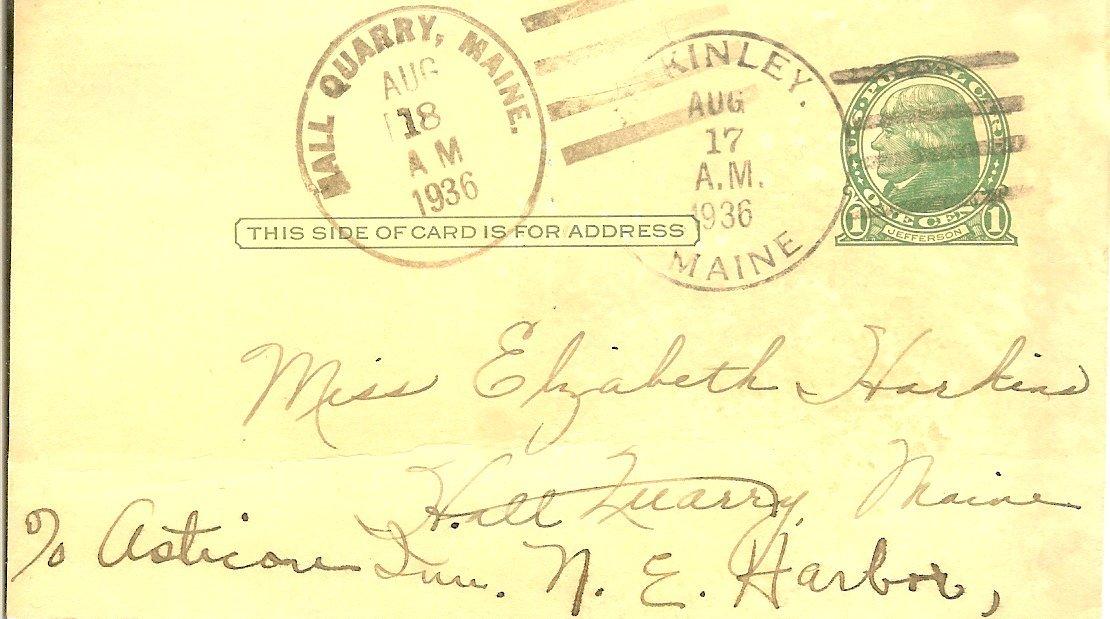Postcard to Elizabeth Harkins