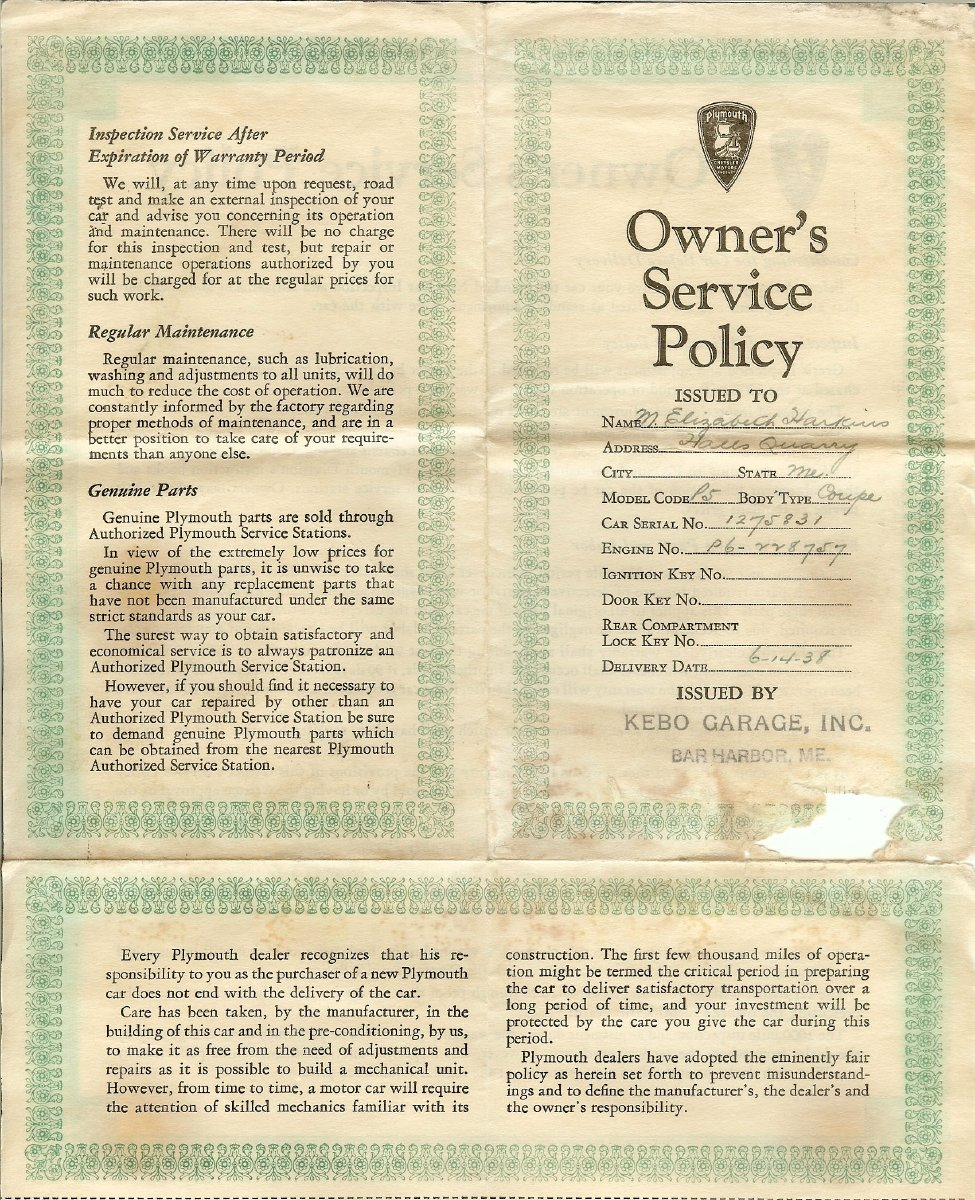 New car service policy for Elizabeth Harkins'  new Plymouth P5 coupe, issued by Kebo Garage, Inc., 1938