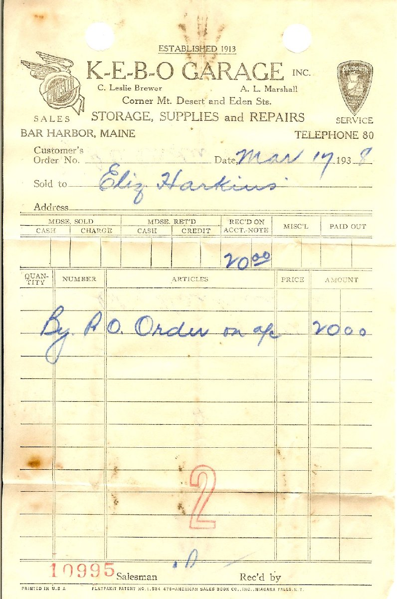 Receipt for $2,000 down payment on Elizabeth Harkins'  new Plymouth P5 coupe, sold by Kebo Garage, Inc., 1938
