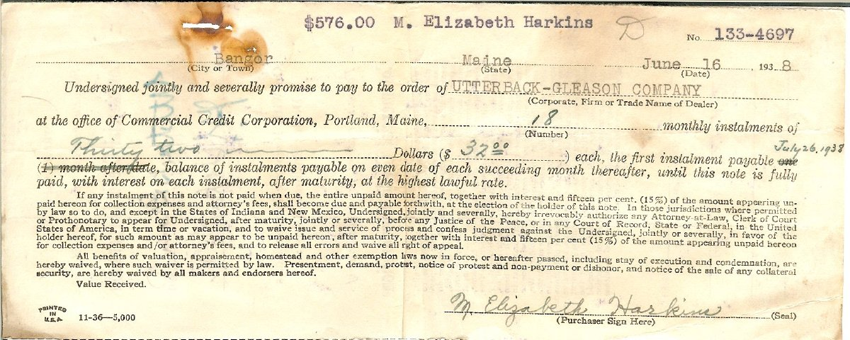 Finance agreement to pay $32/month for Elizabeth Harkins'  new Plymouth P5 coupe, sold by Kebo Garage, Inc., 1938