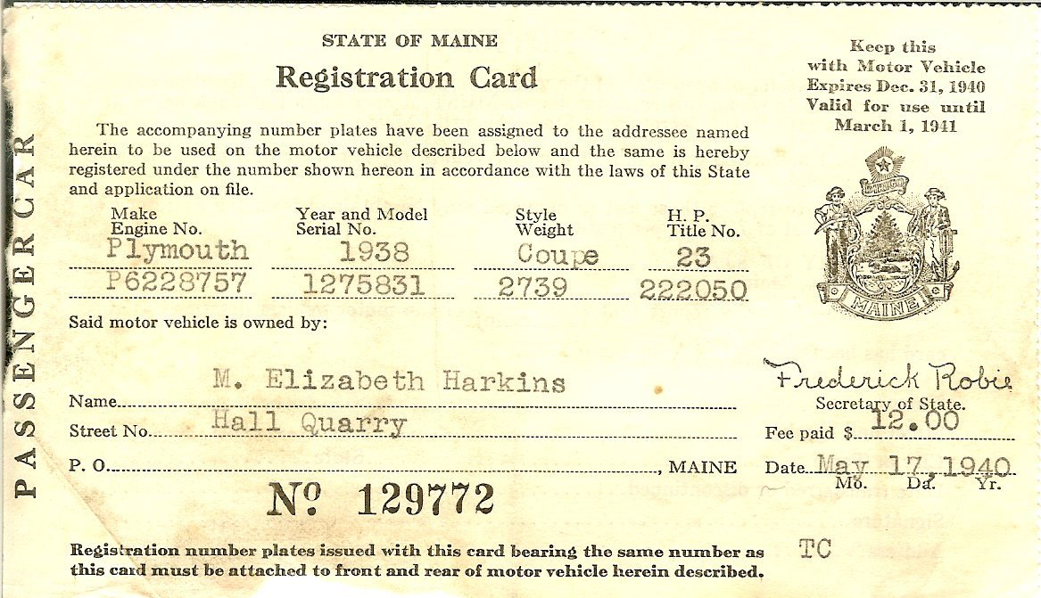 Maine auto registration card 1940
