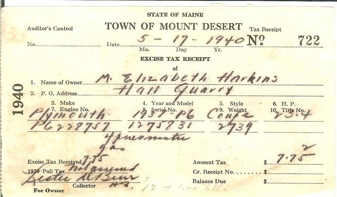 Town of Mount Desert automobile excise tax receipt
