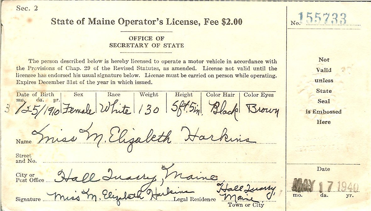 State of Maine driver's license
