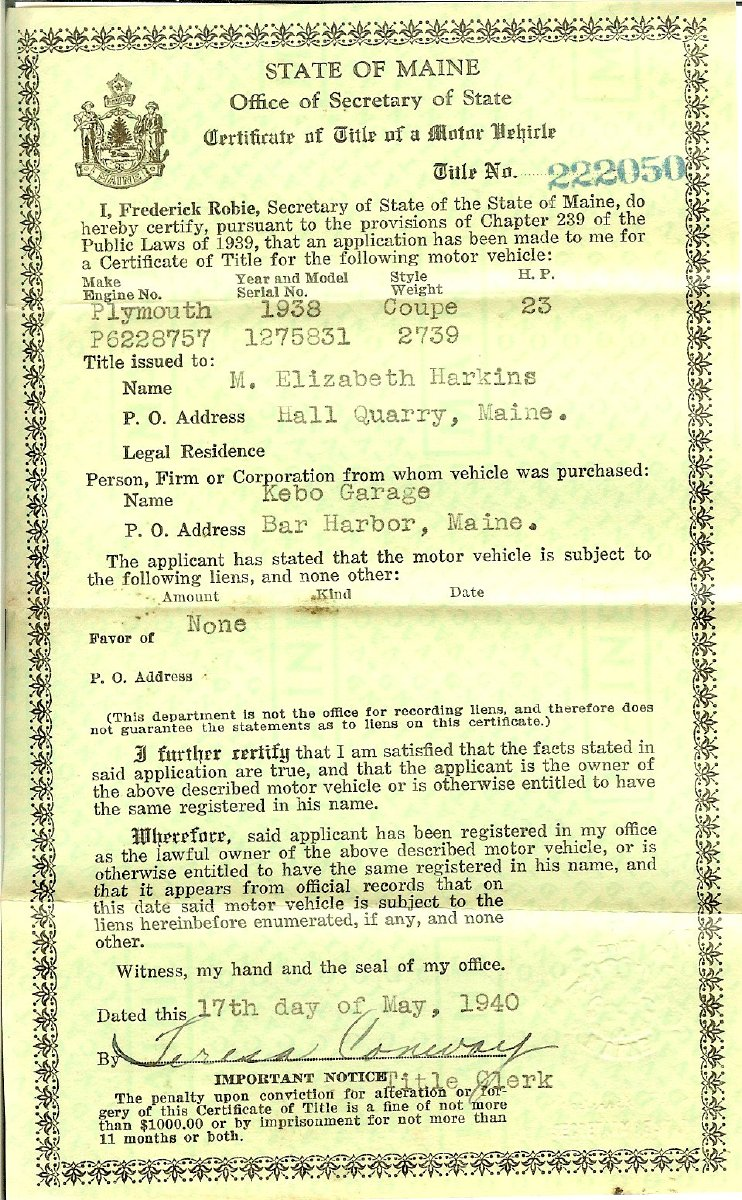 State of Maine certificate of title for auto 1940