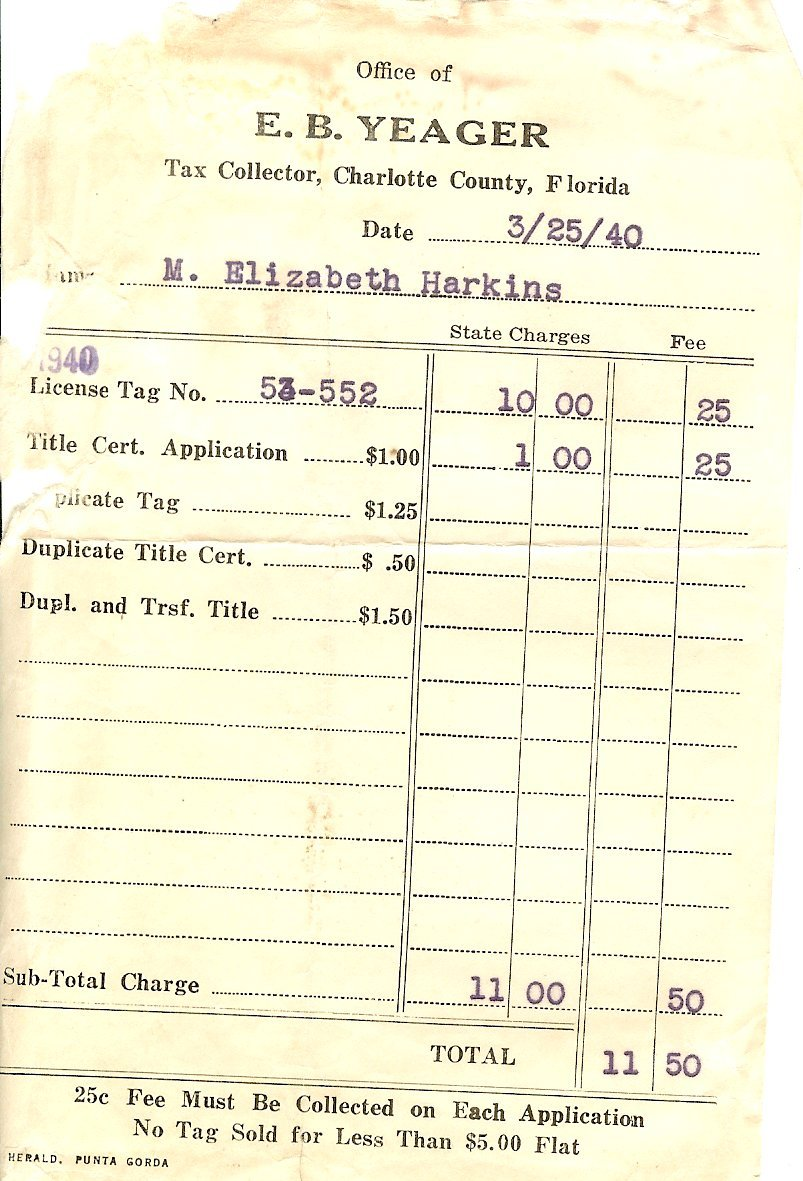 Florida receipt for automobile tax