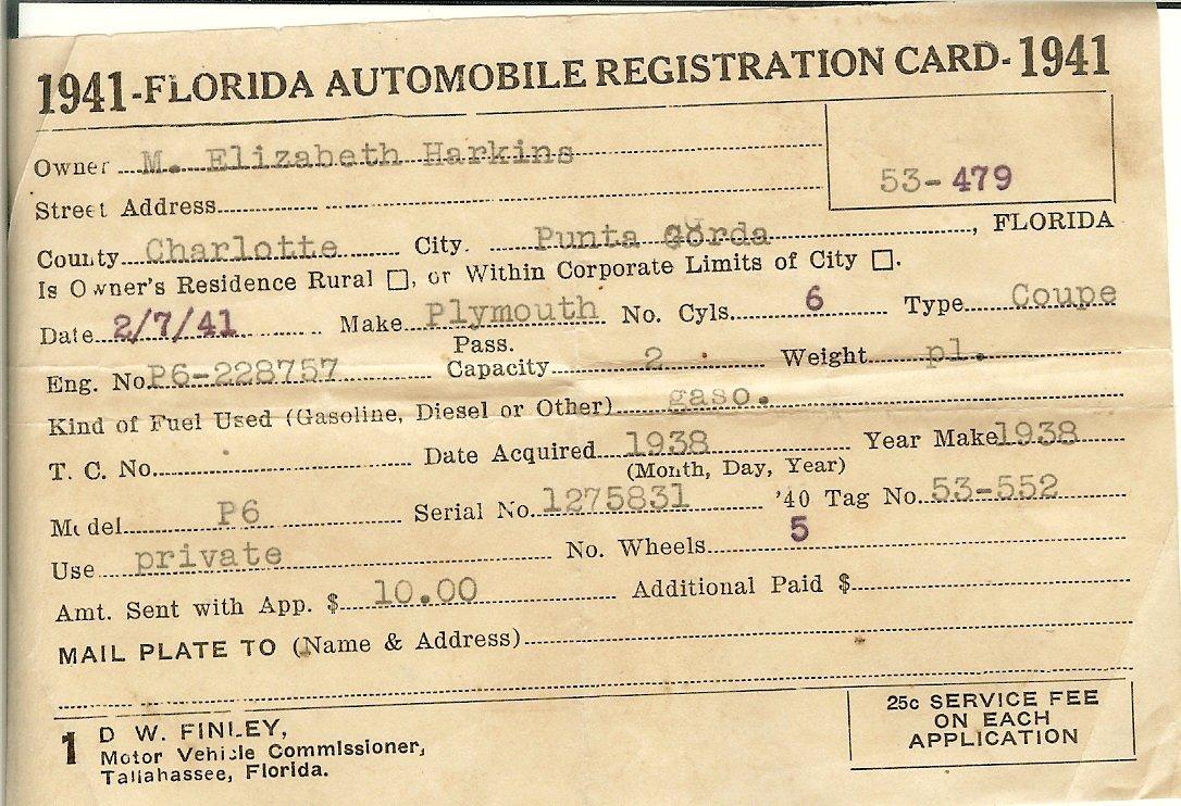 1941 Florida automobile registration