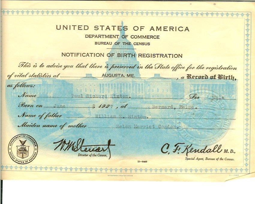 William Hinton birth certificate, copy