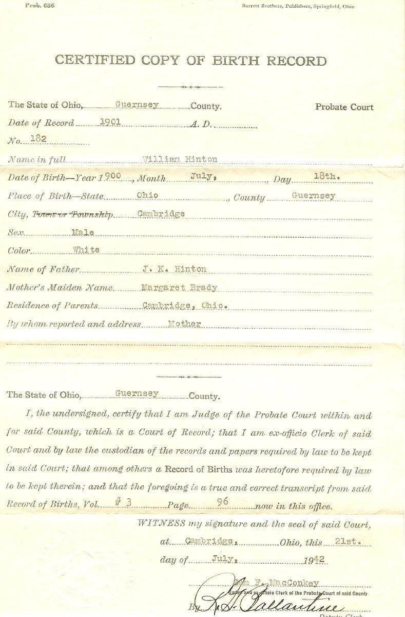 William Hinton birth certificate 7/18/1900