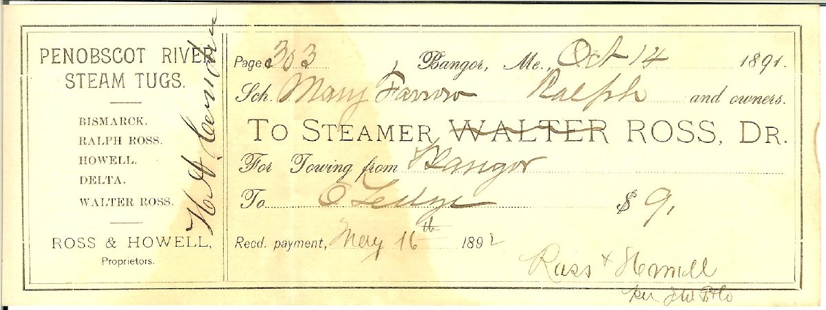 1891 towing receipt for vessel Mary Farrow