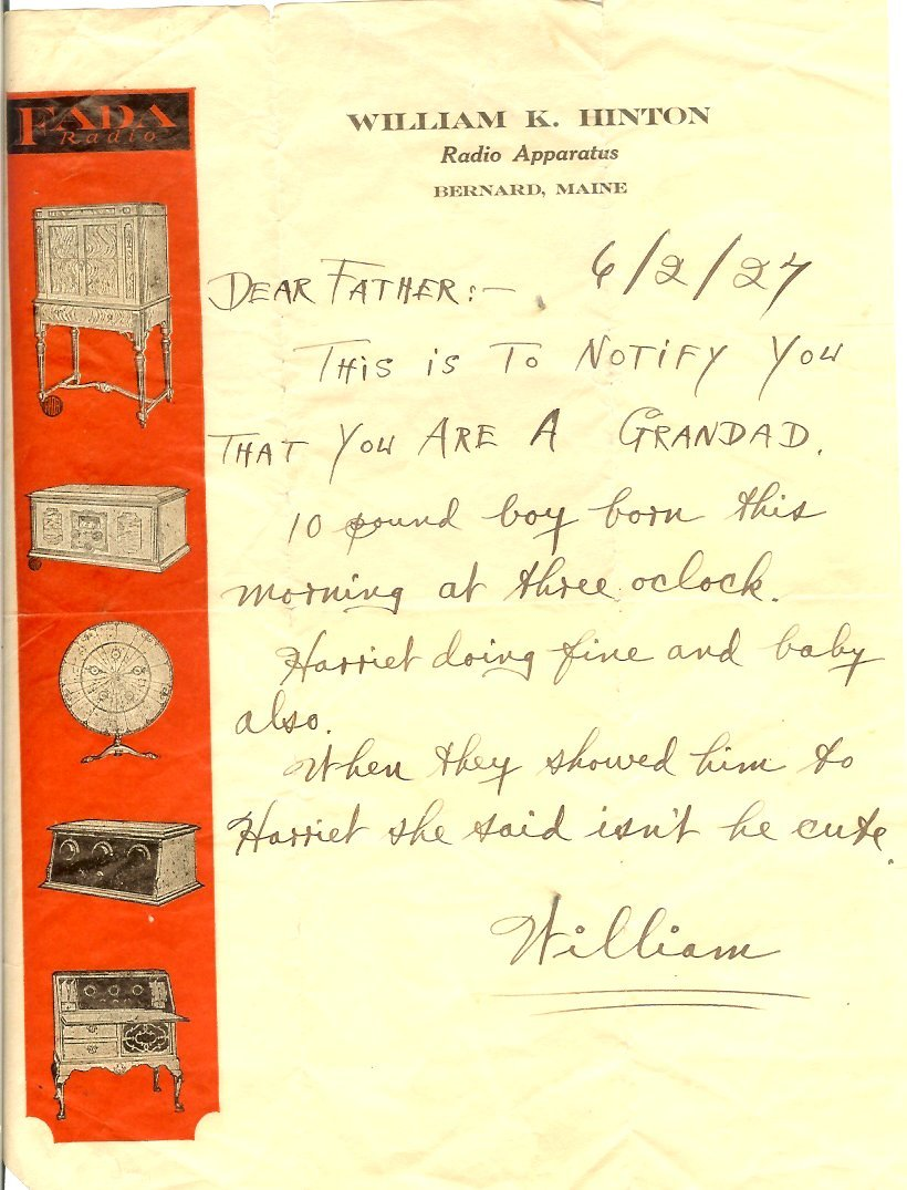 letter to Bill Hinton about birth of son, Paul