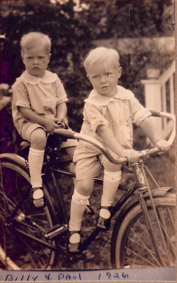 Billy & Paul Dornfeld on bike, 1926