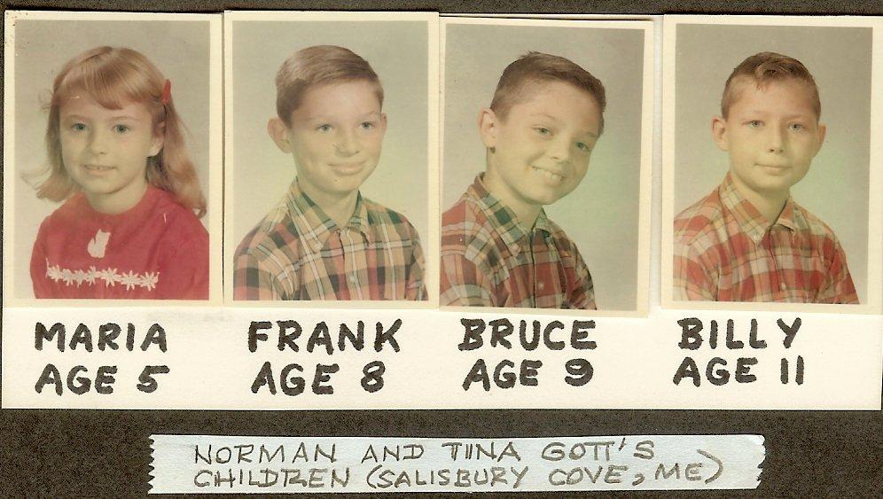 Maria, Frank, Bruce & Billy Gott, school photos