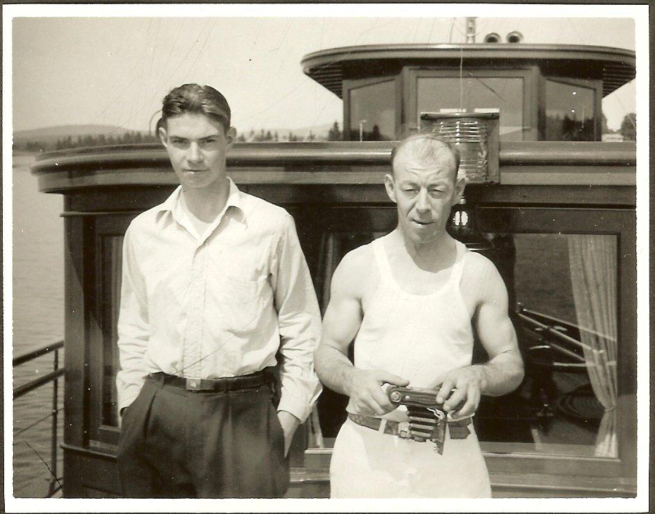 "Fred & Bob Foss on deck of ""Toddywacks"""