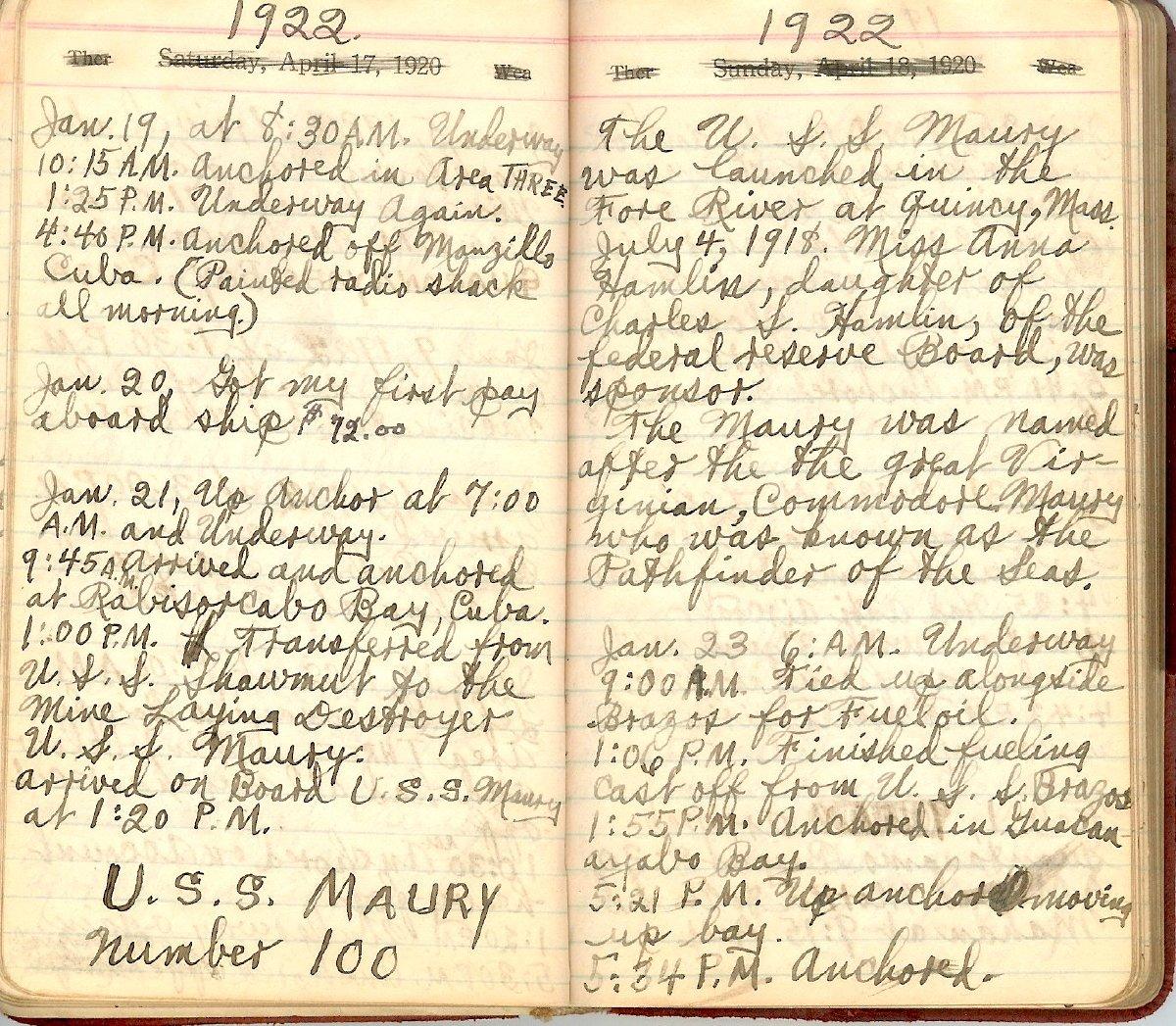 William Hinton journal 1919