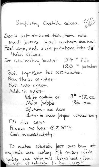 Underwood canning notebook
