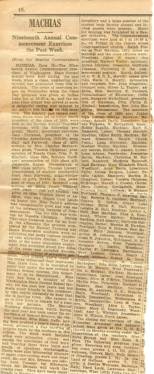 Newspaper clipping about Machias normal school graduation, 1930.