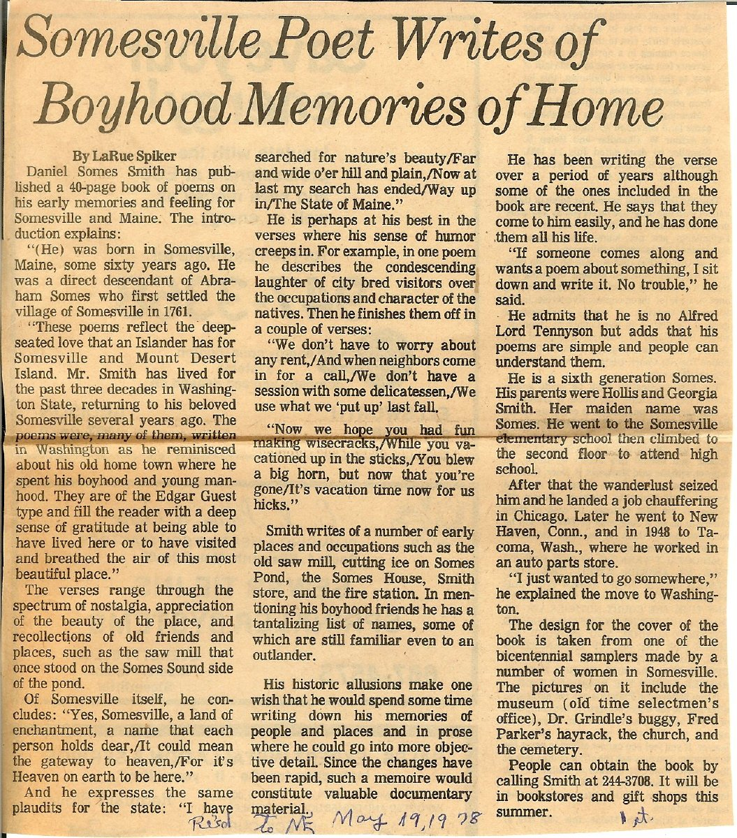 Newspaper clipping about Daniel Somes Smith and his poetry.