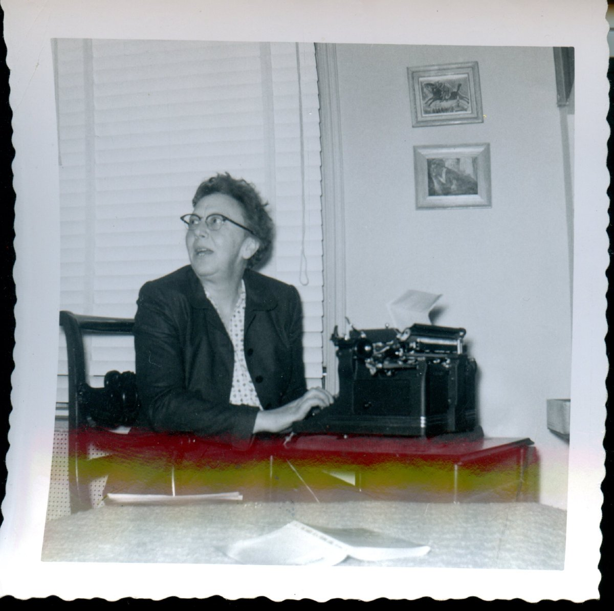 Moore, Ruth at her typewriter.