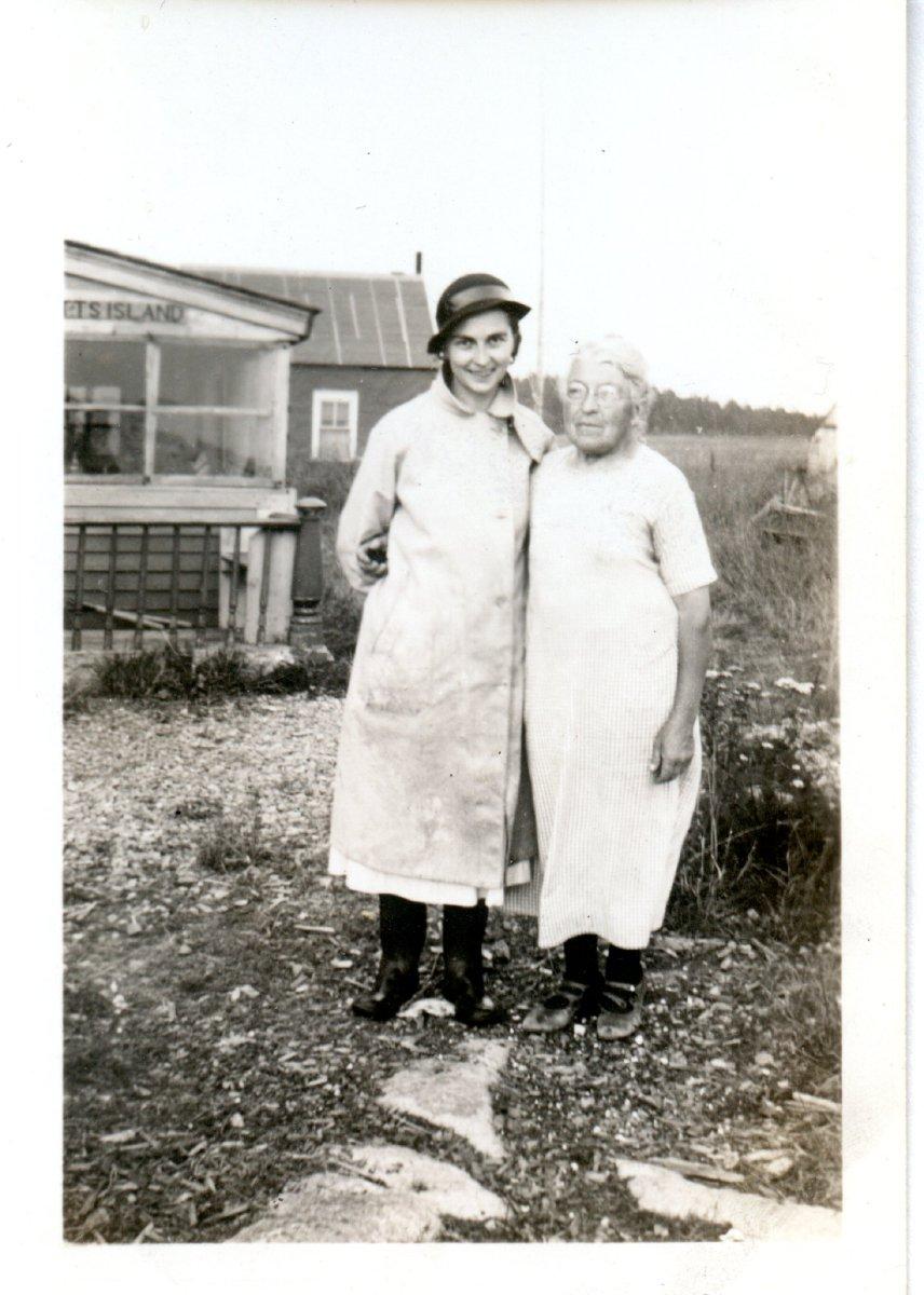 Lawson, Jennie, with Marie Rumill at Gott's island.