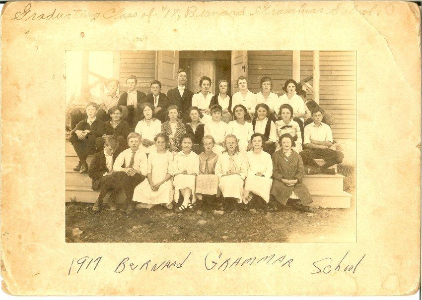 Bernard grammer school Graduating class of 1917 photo of students, teacher & superintendent