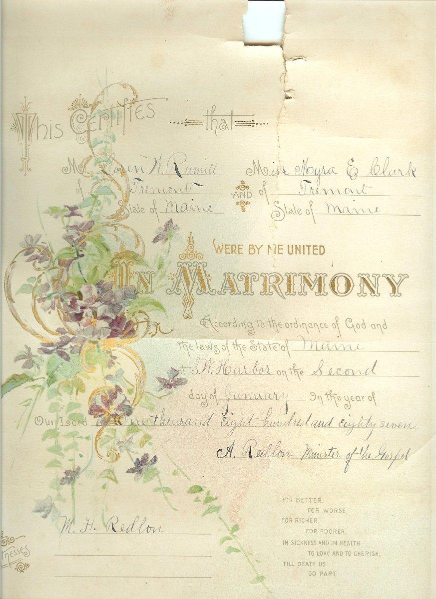 1887 marriage certificate for Loren Rumill and Myra Clark