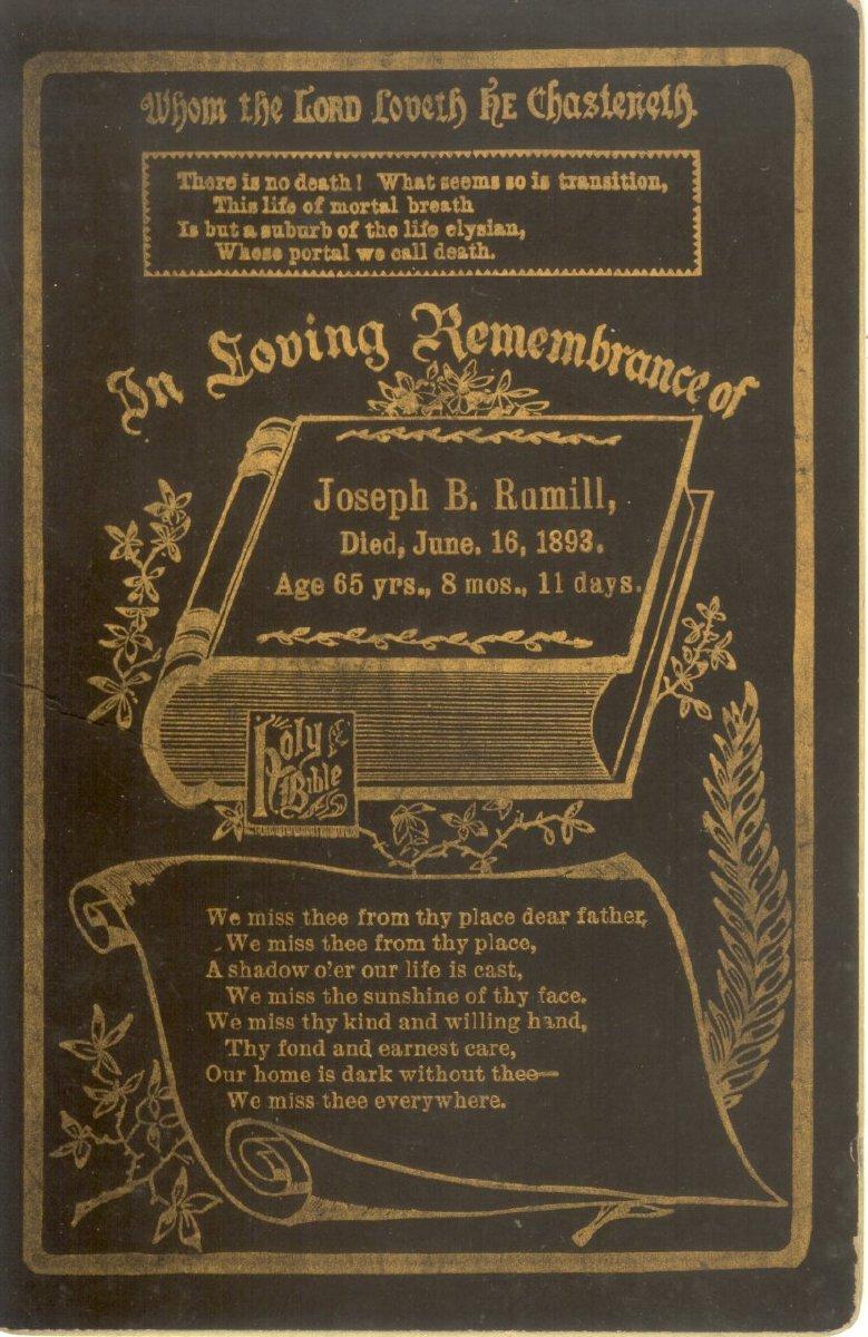 Joseph B. Rumill memorial card