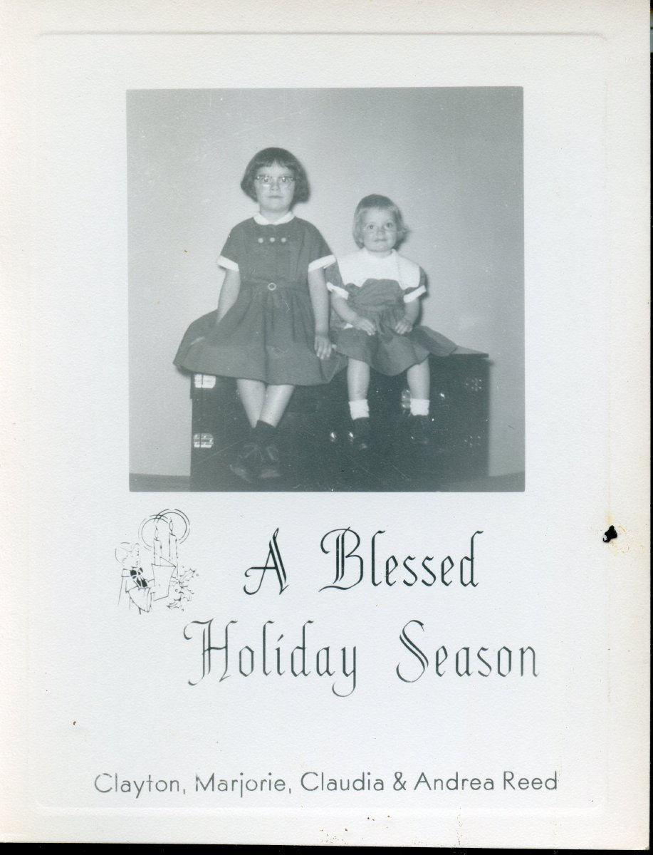 Christmas card with photo of Reed sisters.