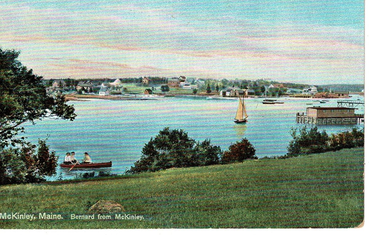 Old color postcard of Bernard from McKinley, Maine.