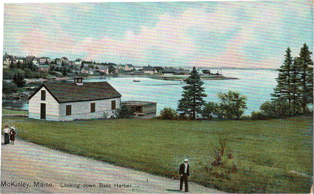 Old color postcard of McKinley, Maine, Looking down Bass Harbor.