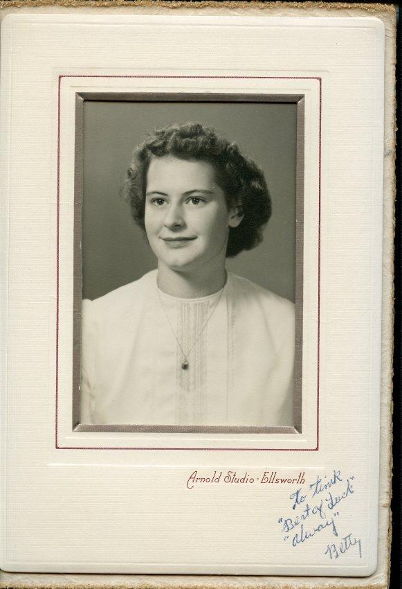 Betty Ann Walls, Pemetic HS senior photo, 1949