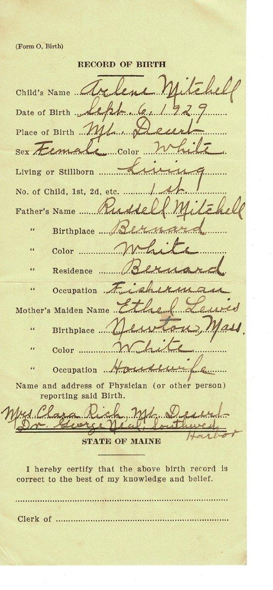 Tremont birth record